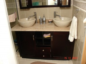 Bathroom cupboard with marble top