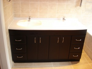 Two door bathroom vanity with drawers