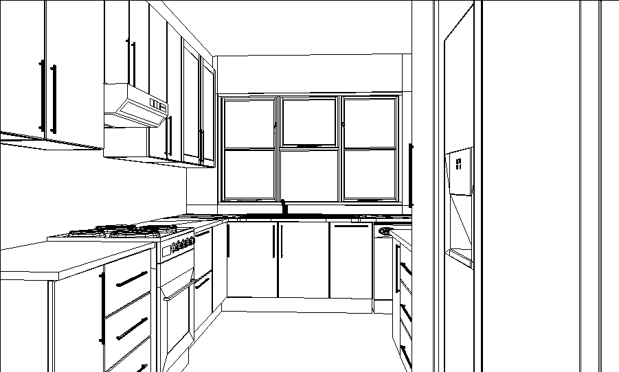 U shape kitchen layout