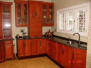Rosewood kitchen cupboards