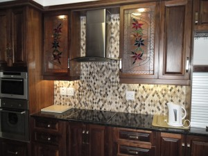 Walnut kitchen cupboards