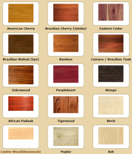 Another selection of wood types
