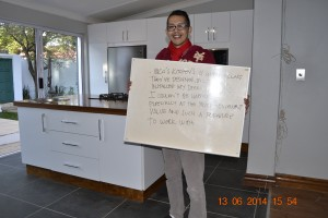Client review of kitchen